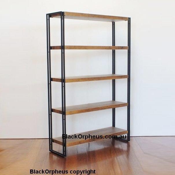 Industrial Metal Wood Look Shelves Bookcase Black Orpheus