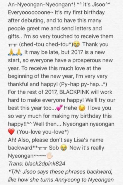 English Translation of Blackpink Jisoo Birthday Letter