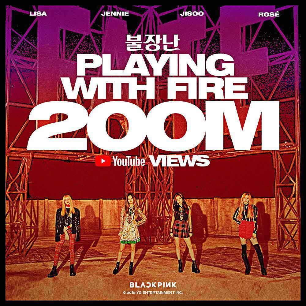 Congrats Blackpink Playing With Fire Surpasses 200m Youtube