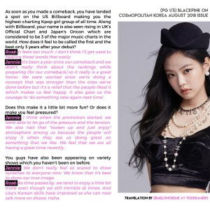 English Translation BLACKPINK Interview Cosmopolitan Korea Magazine August 2018 Issue Page 1