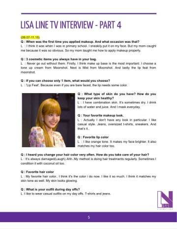 BLACKPINK Lisa LINE TV Thailand English translation 5
