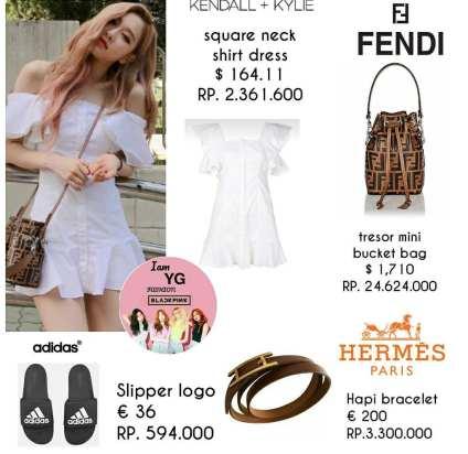 BLACKPINK Rose Fashion Fendi Hermes Bracelet Kendall Kyle dress