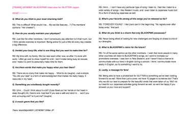 5-English Translation BLACKPINK Rose GLITTER Magazine Japan Interview