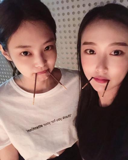 BLACKPINK Jennie Instagram Photo with Gahee YG dancer