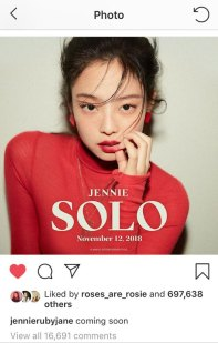 Jennie solo teaser on Jennie Official Instagram. Rosé liked