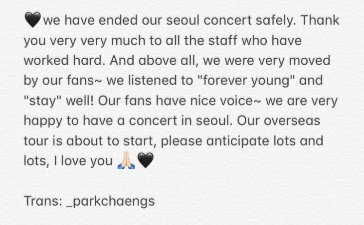 English Translation Rose caption after BLACKPINK Seoul Concert
