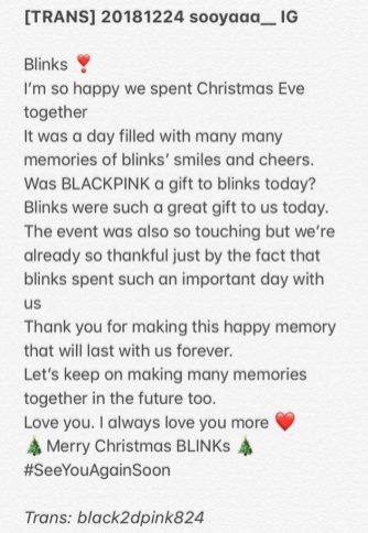English Translation Jisoo Christmas Post BLACKPINK BLINK forever