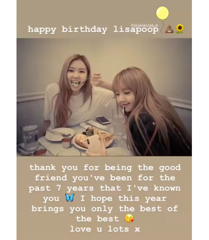 BLACKPINK Rosé To Lisa: Happy Birthday Lisapoop, Love You Lots