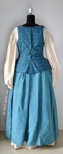 blue skirt waistcoat back