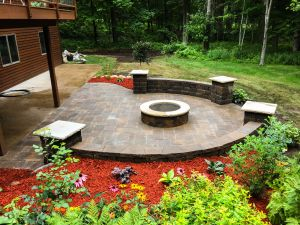 Custom paver patio with fire pit & freestanding walls