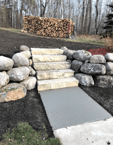 Boulders and stone steps