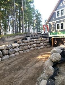 boulder retaining walls in Crosslake MN