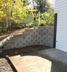 retaining wall landscaping project in Crosslake MN