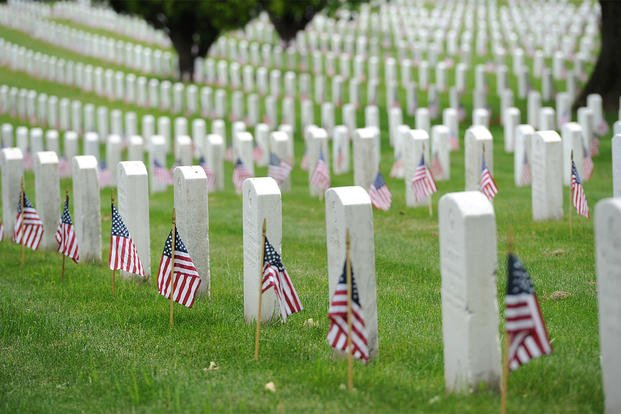 Tomb stones with flags at Arlington national cemetary.