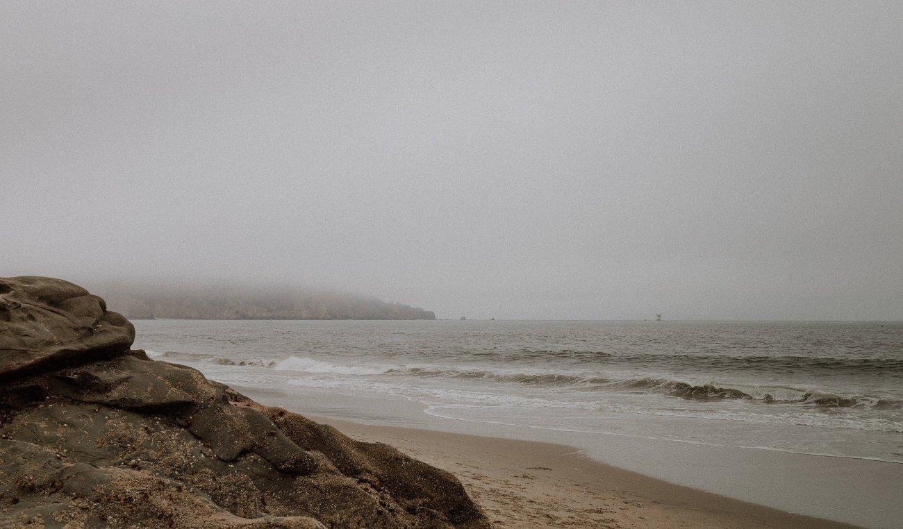 Early foggy morning at Baker Beach San Francisco moody bridal portraits