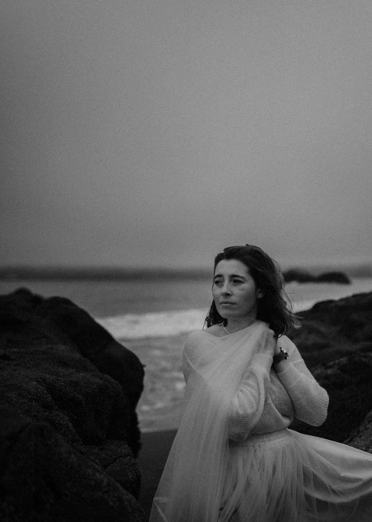 Early foggy morning at Baker Beach San Francisco moody bridal portraits by Las vegas elopement photographer