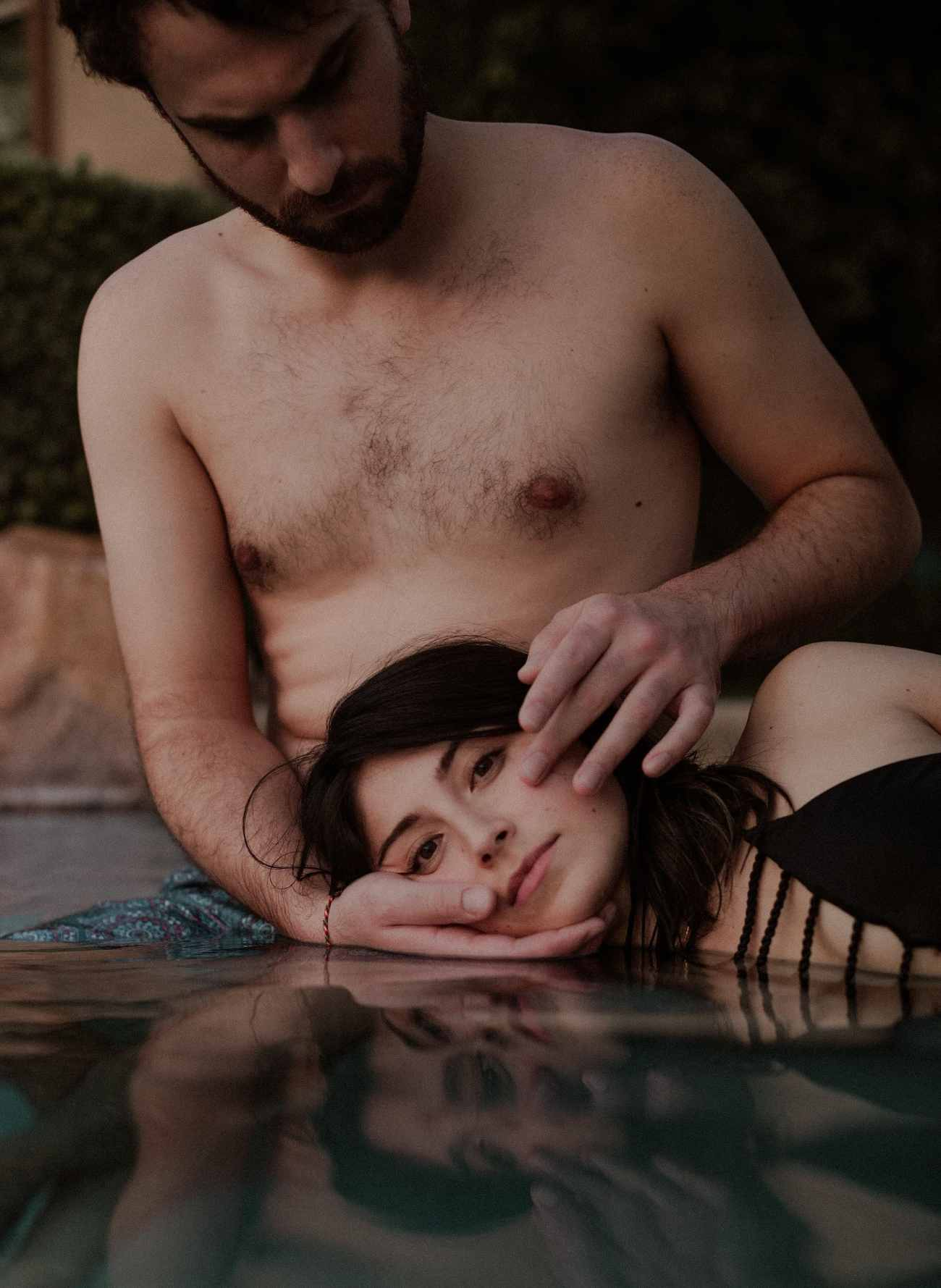 steamy couples session in the pool