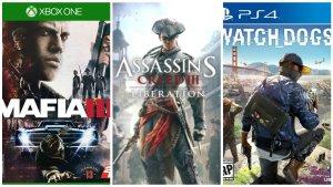 Mafia III, Assassins Creed III, Watch Dogs