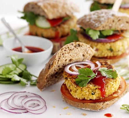tasty vegan chickpea burgers made with cilantro