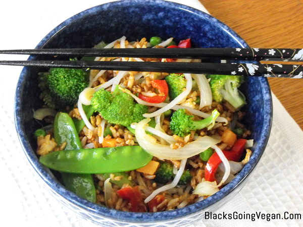 vegan chinese style vegetable fried rice by Deborrah Cooper of BlacksGoingVegan.Com