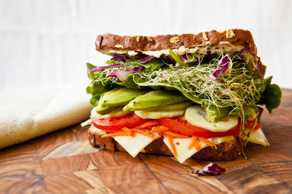 vegetable and vegan cheese sandwich