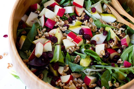 vegan feta with dried cranberries and walnuts salad