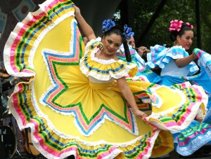 Cinco de Mayo is celebrated with parades and dancers in brightly colored traditional costumes
