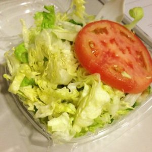 sad little garden vegetable salad typically served in family style restaurants