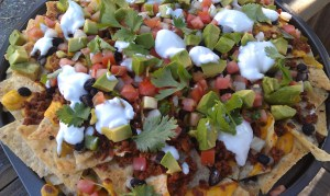 Vegan nachos made with So Soya ground veggie burger mix