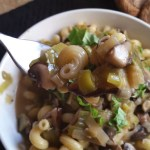 Vegan leek and mushroom pasta sauce recipe by Deborrah Cooper of blacksgoingvegan.com
