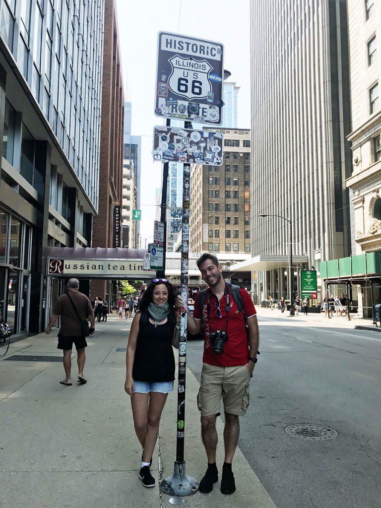 Cartello di inizio della Route 66 a Chicago
