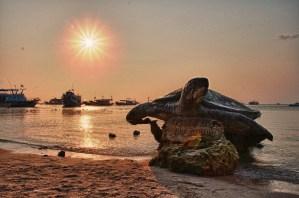 Spiaggia di Koh Tao con la statua della tartaruga che la rappresenta