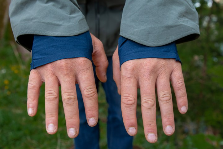shows the wrists of the Norrona Tamok gore-tex pro jacket