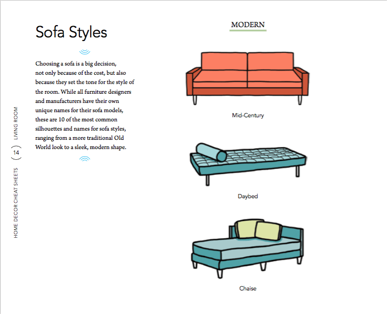 sofa-styles1 6 Home Decor Cheat Sheets for a Southern Homeowner