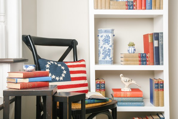 Patriotic red, white, and blue decor using books.