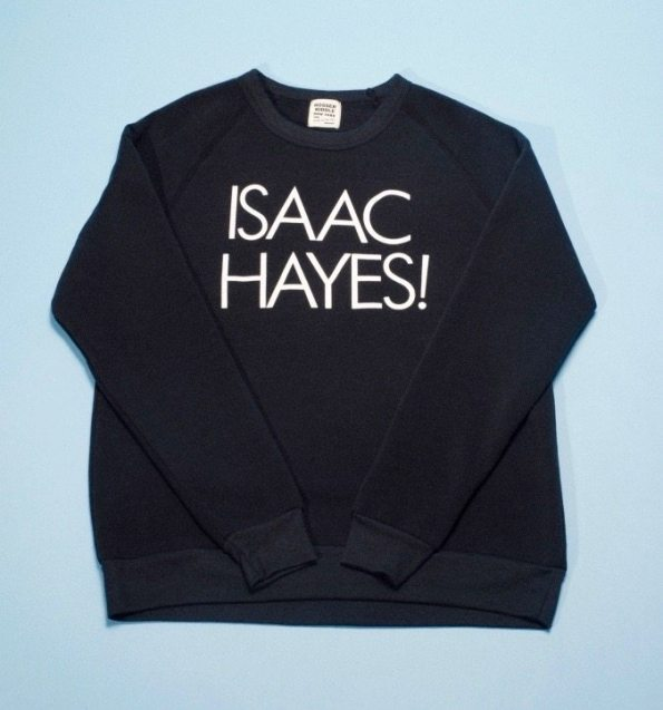 "Father's Day Gift. This black t-shirt with white lettering reads: ""Isaac Hayes"" for the popular soul singer."