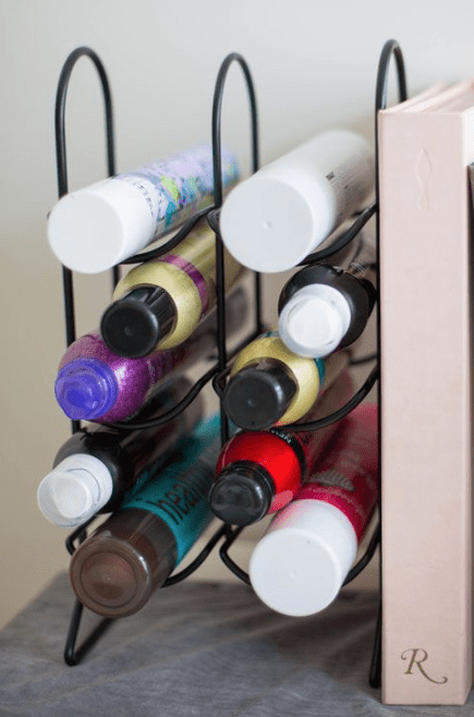 Hair-Products-on-Wine-Rack- 5 Tips for Styling Your Vanity from the Founder of  Alodia Hair Care