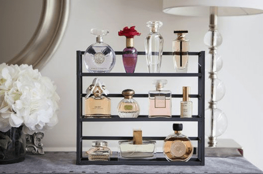 Perfume-Bottles-on-Spice-Rack 5 Tips for Styling Your Vanity from the Founder of  Alodia Hair Care