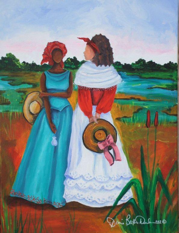 aeb243f4e88df947824ad621012603d9-595x773 16 Images of Black Sisterhood Through Gullah Art