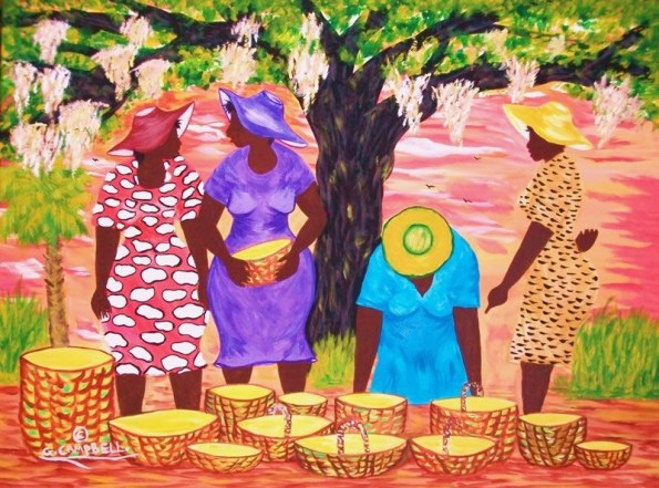 beb2eb2b00b63a8e86c23aa3b37853b9-595x441 16 Images of Black Sisterhood Through Gullah Art