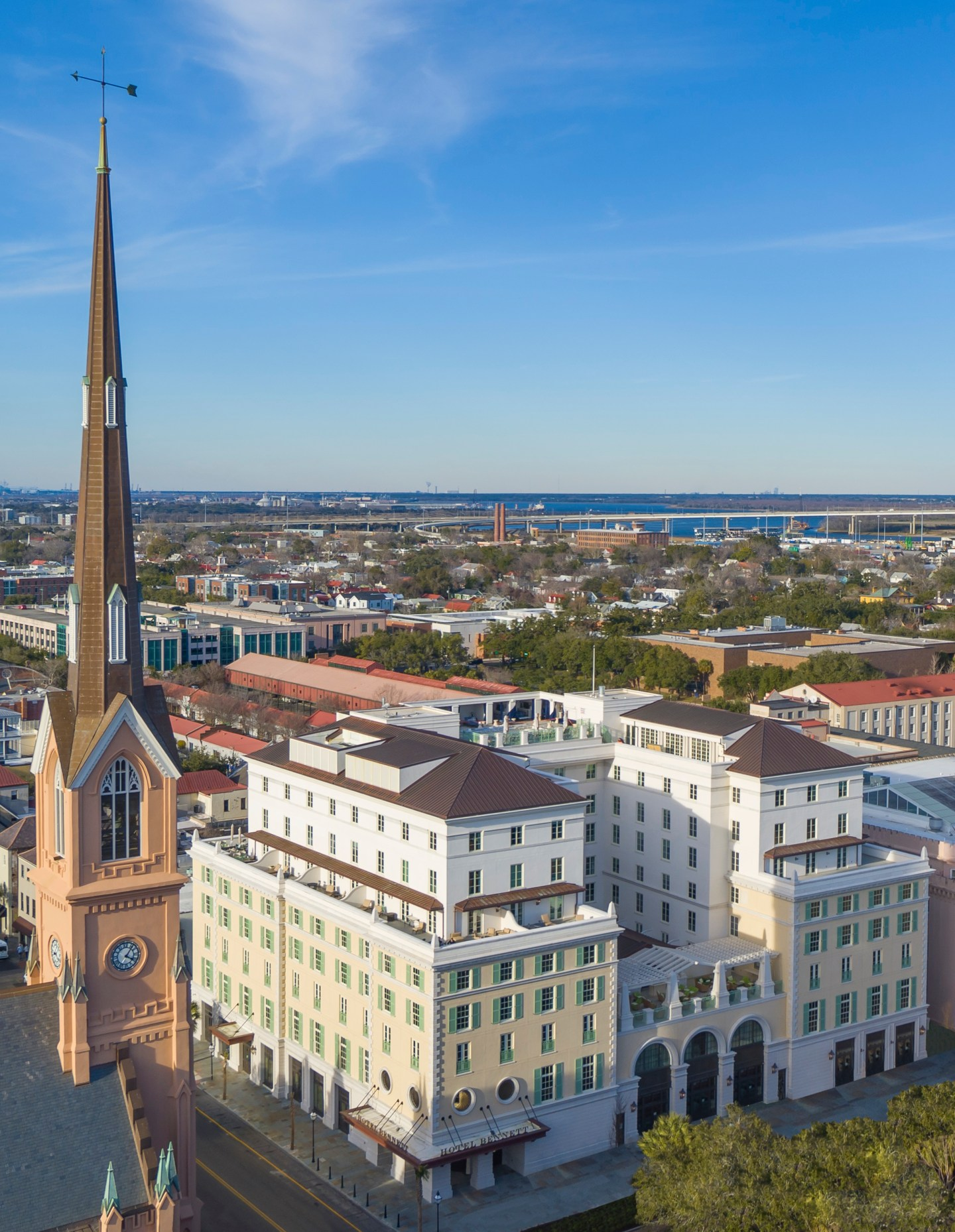 Hotel-Bennett-Aerial_Credit-Modus-Photography-1440x1858 Design Tour: Hotel Bennett Debuts in Charleston, SC