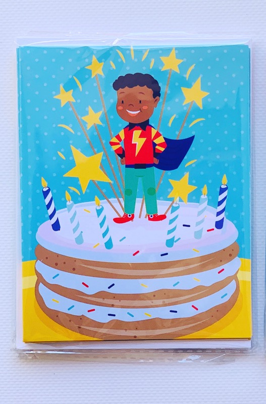 Brown-Boy-Superhero-Notecard-1 Black Owned Paper Goods  Company Gives 3 Tips for How to Wrap Kid's Birthday Gifts