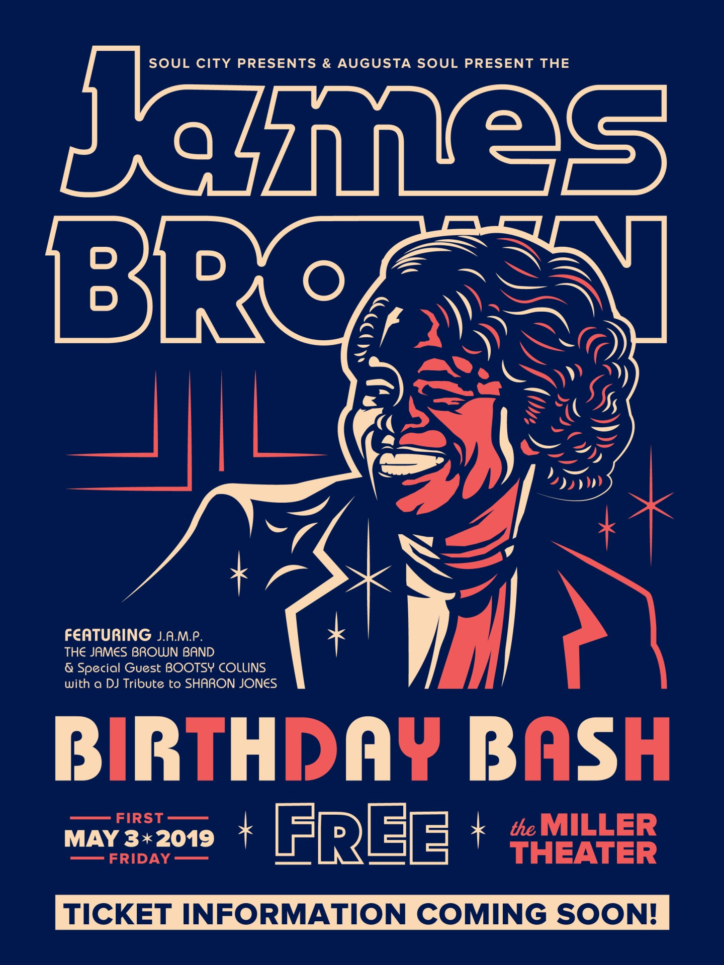 """James-Brown-Birthday-Bash-Flyer-2-Credit-Miller-Theater-1440x1920 """"Get on the Good Foot"""" in Augusta, GA. – Celebration of James Brown's Birthday (May 3rd)"""