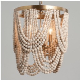 Whitewash Wood Draped Bead 4 Light Chandelier by World Market