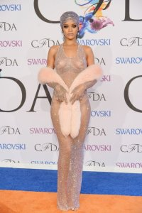 Rihanna in Naked Swarovski Dress at CFDA Event