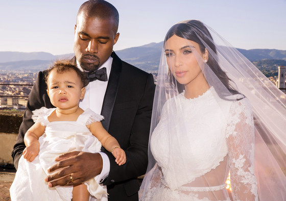 Kanye West Kim Kardashian and baby North West