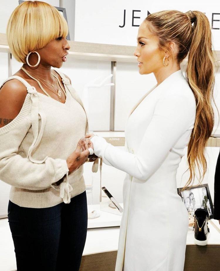 Jennifer Lopez and Mary J Bilge at Giuseppe Launch