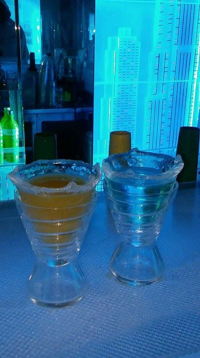 2 Drinks in a ice glass inside the Ice Bar
