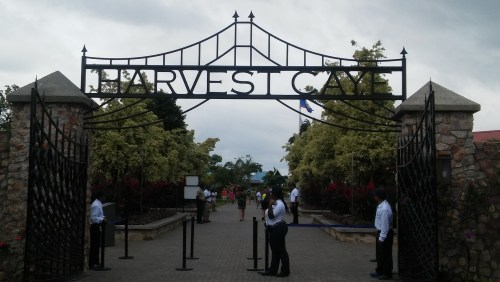 The main gate at Harvest Caye in Belize