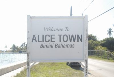 Alice Town Sign in Bimini Bahamas